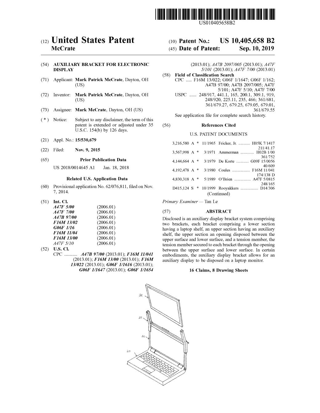Patent # 10,405,658
